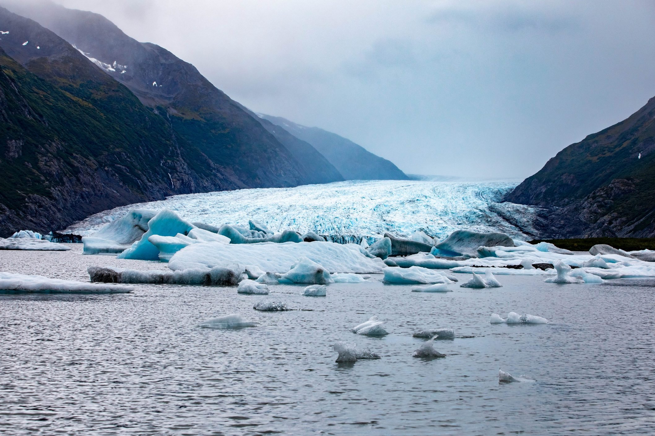 Spencer Glacier and icebergs of Alaska in fall tourist destination