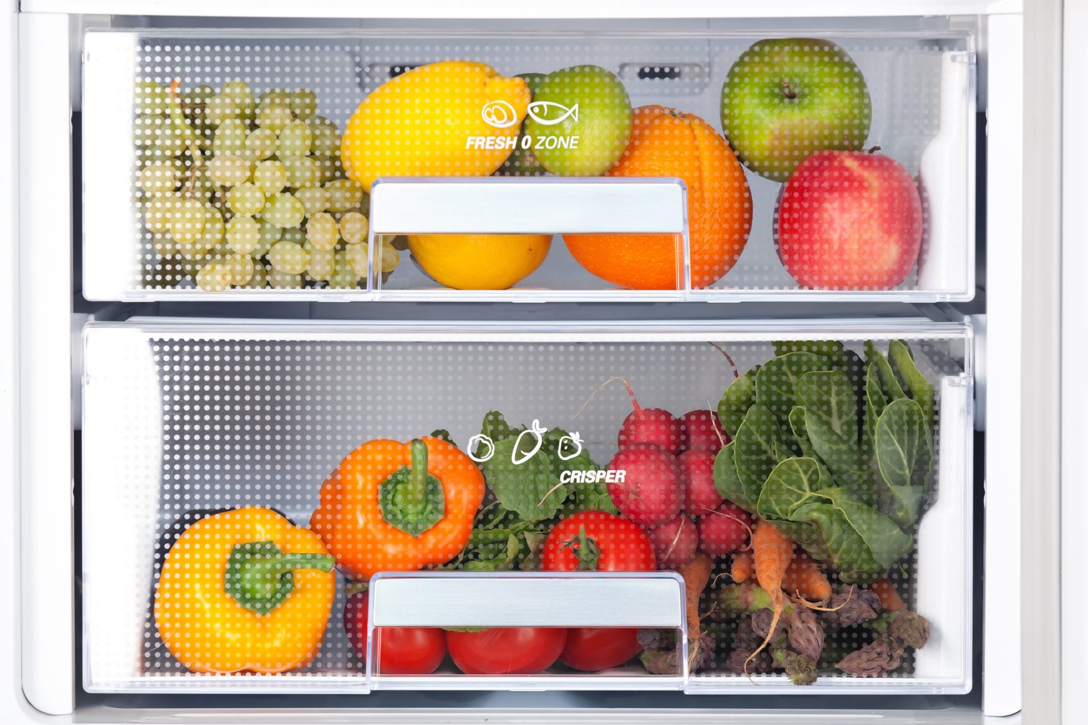 detail of fridge with fresh food
