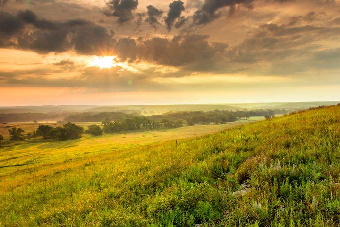 Dramatic Sunrise over the Kansas Tallgrass Prairie Preserve National Park