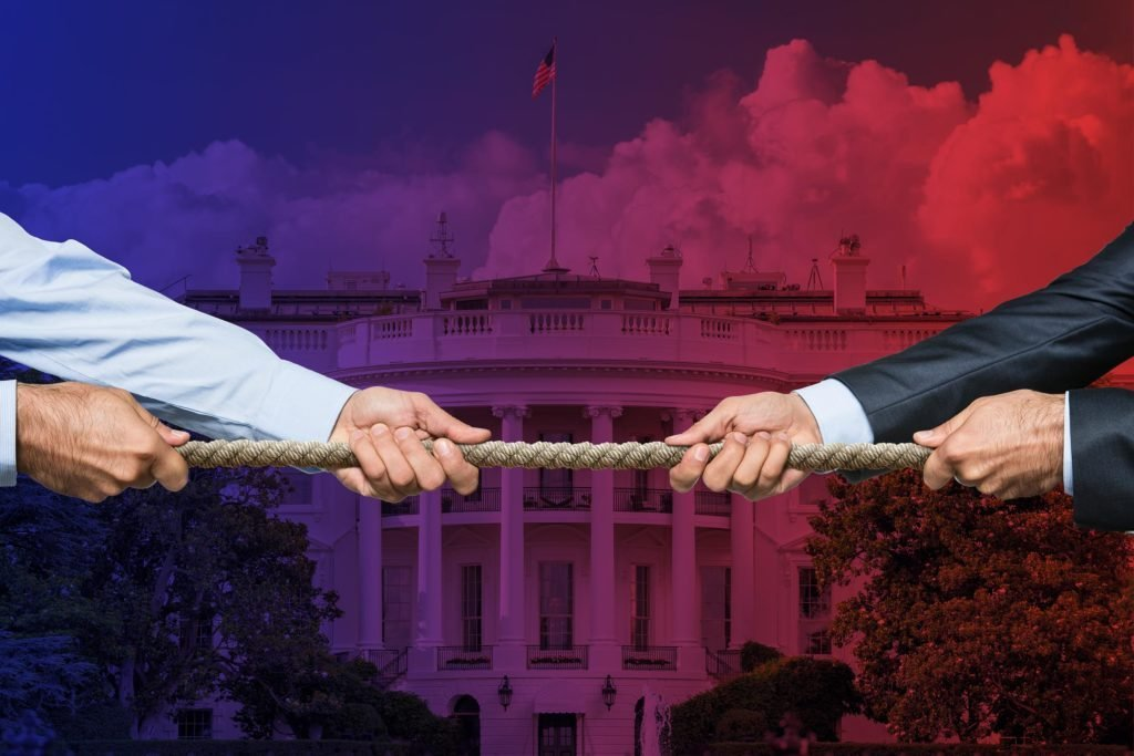 two businessmen pulling on a rope, tug-o-war style. White House background with red-to-blue fade overlay.