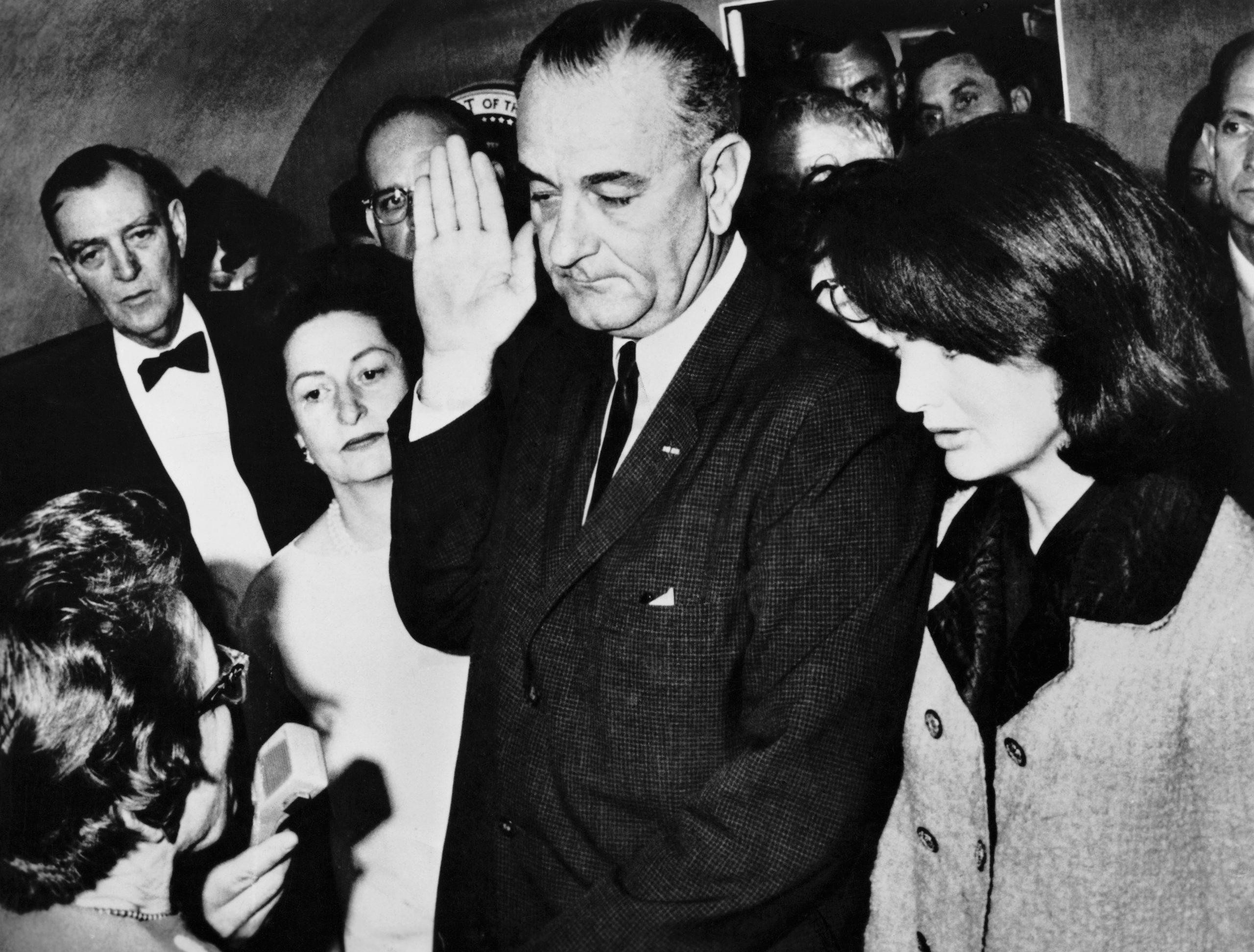 Lyndon B. Johnson Being Inaugurated