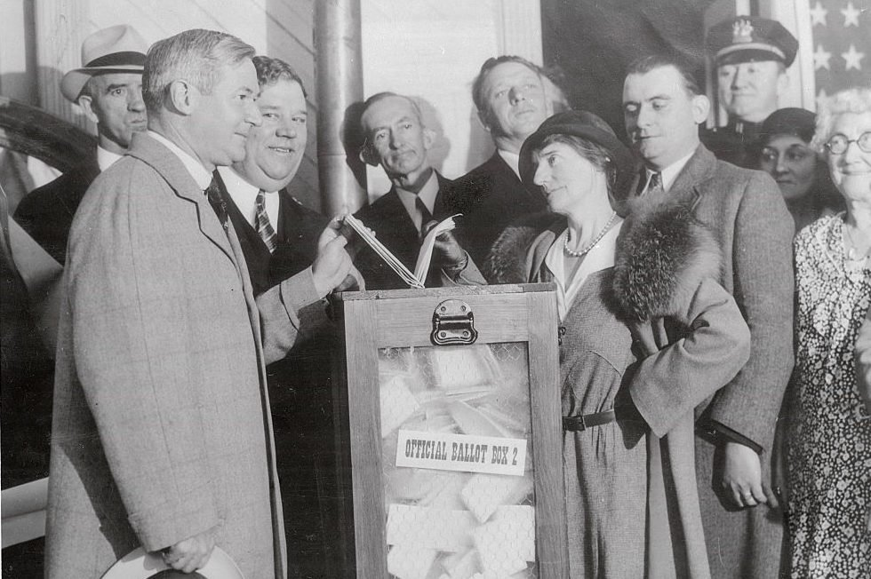 Former Governor A. Harry Moore and Wife at Voting Booth