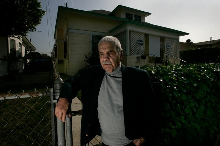 (Los Angeles)–World War ll hero Guy Gabaldon stands in front of the house in Boyle Heights where he