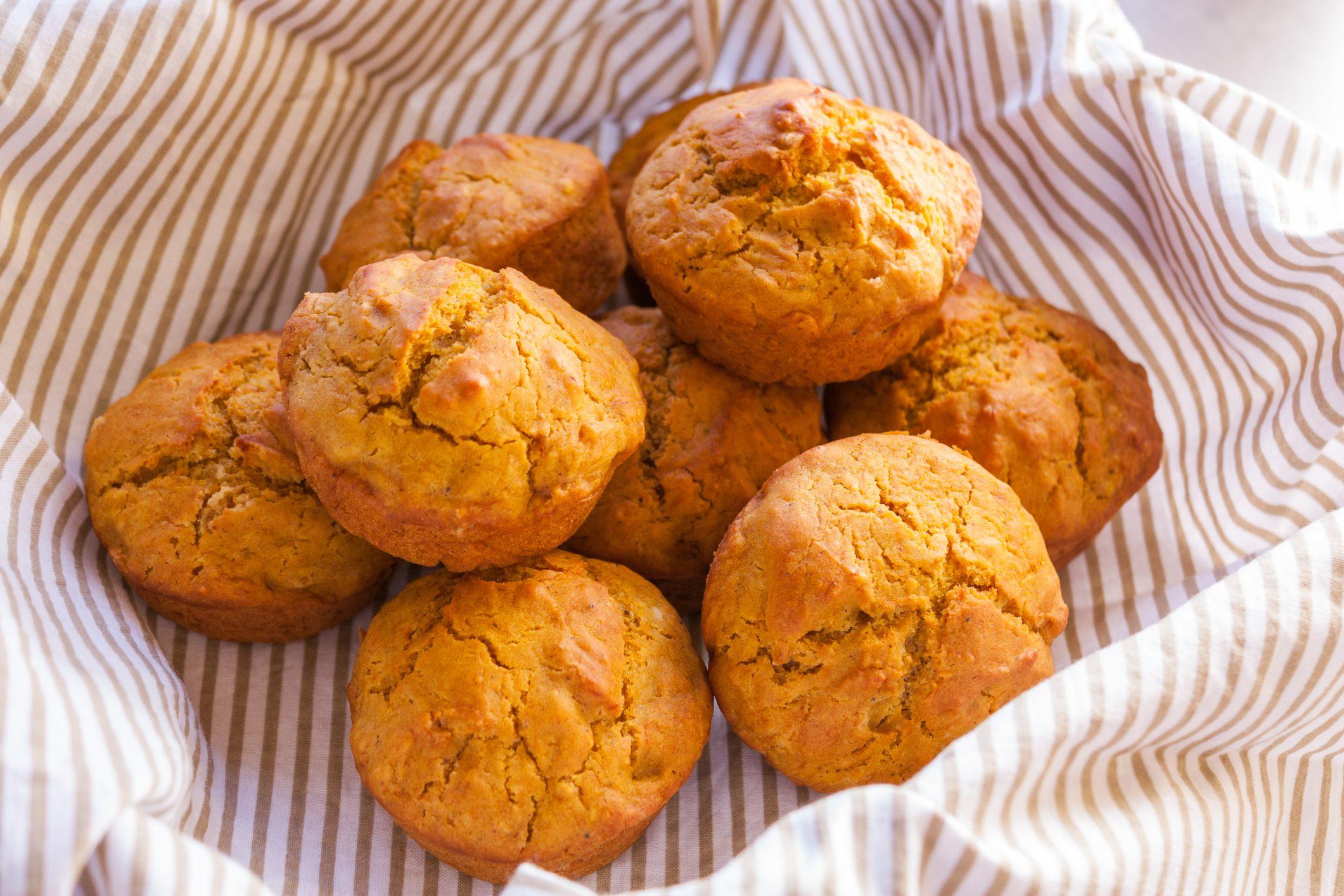 Pumpkin Muffins in food basket