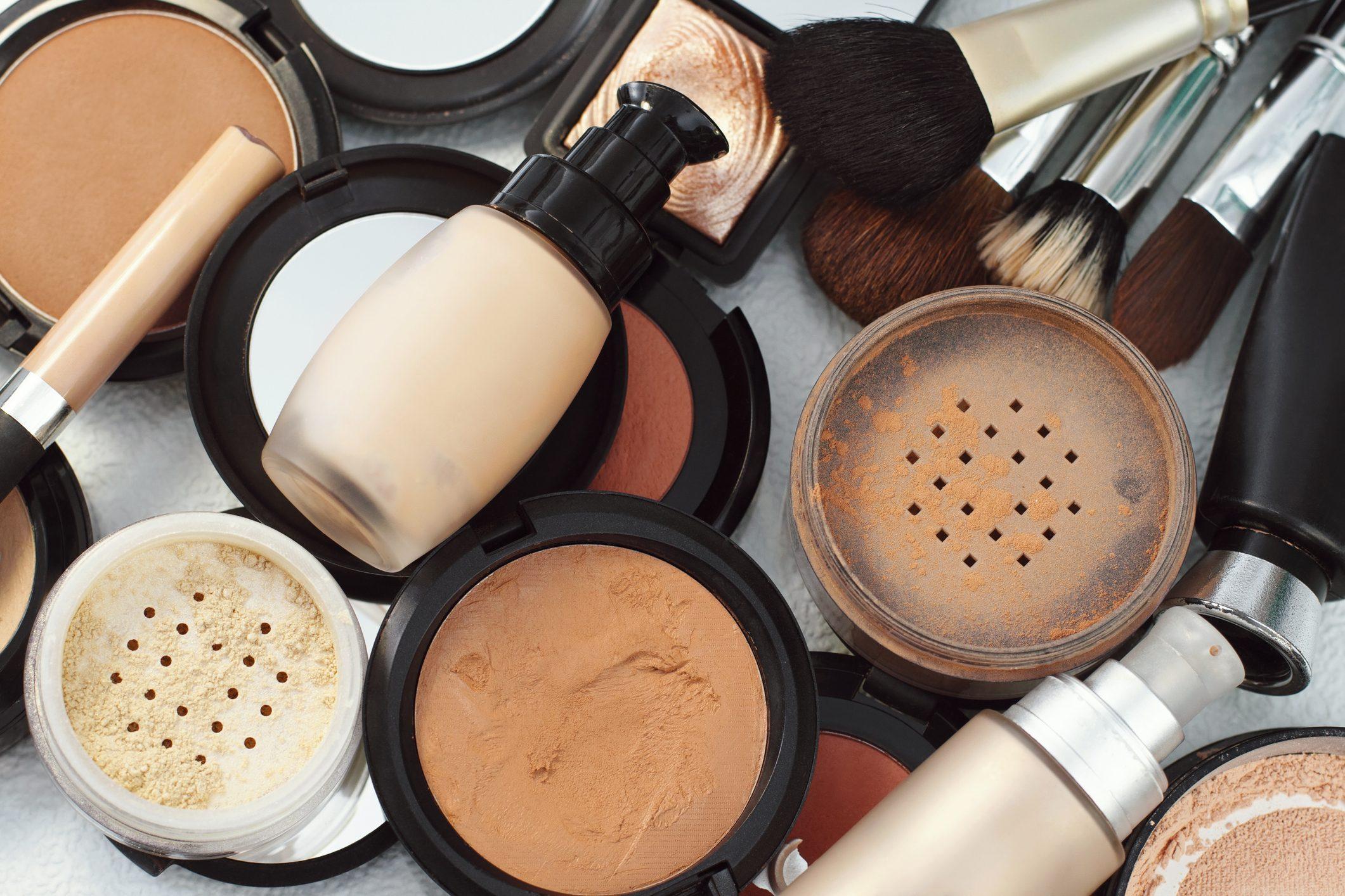 Set of decorative cosmetic, face powder, blush.
