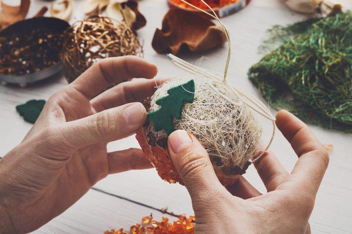 Creative diy hobby. Handmade craft christmas decoration, balls a