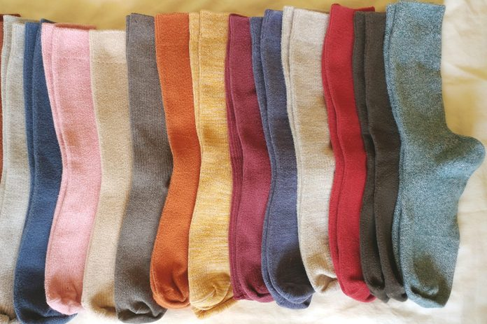 Directly Above Shot Of Colorful Socks Arranged On Table