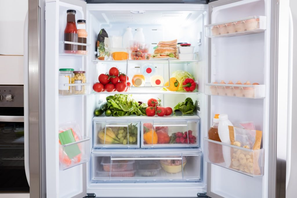 Refrigerator With Fruits And Vegetables