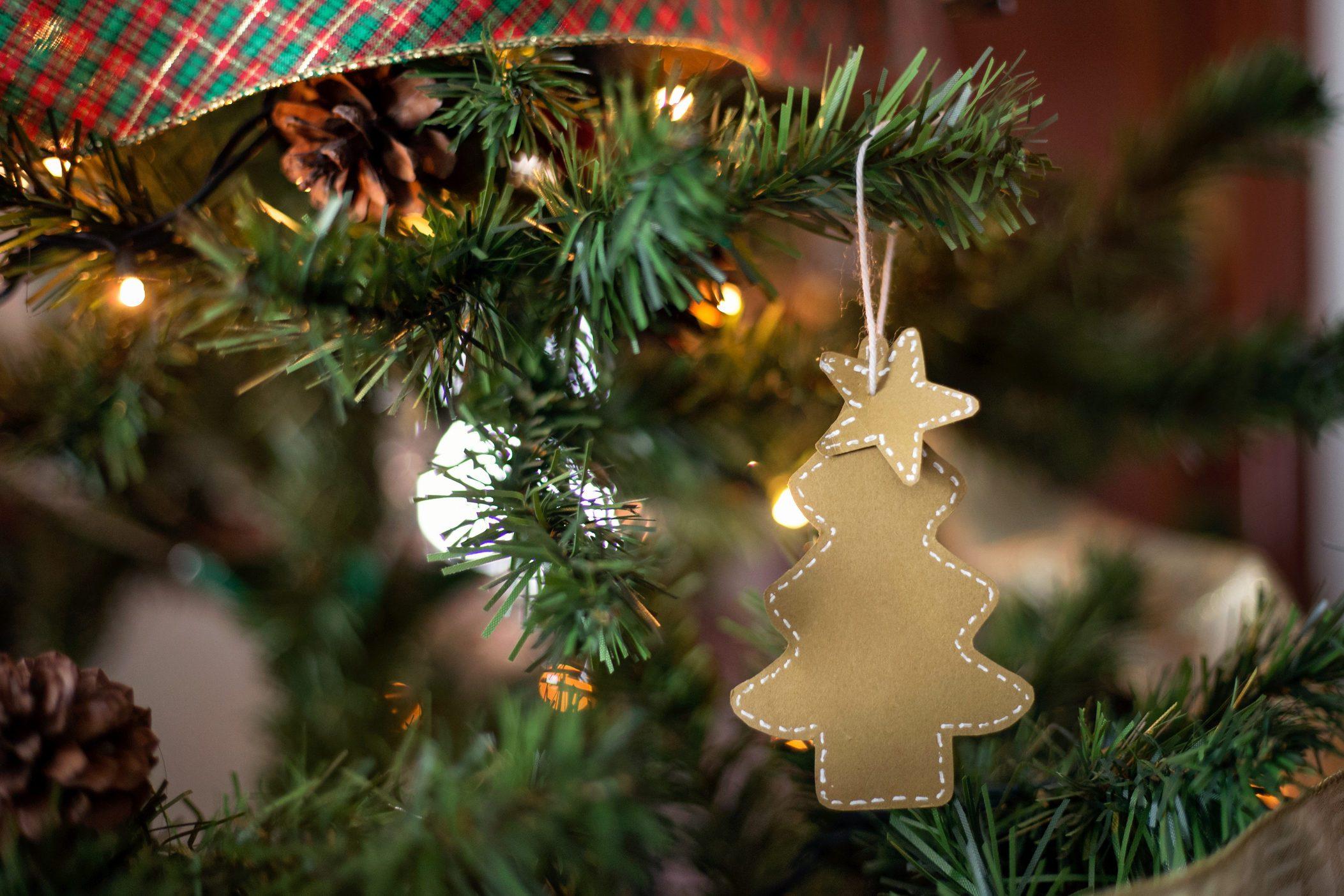 Handmade Christmas ornament hanging on the Christmas tree