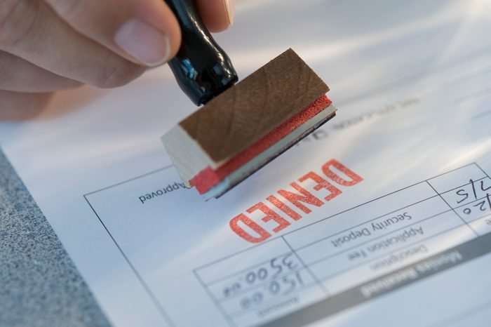 Man stamping denied on mortgage application