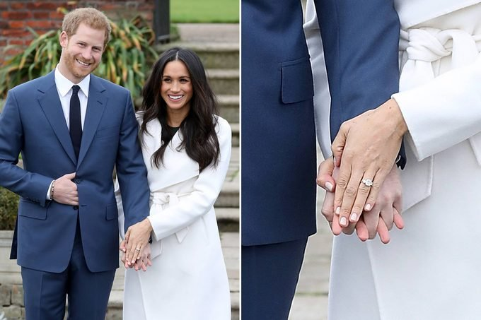 meghan markle with prince harry showing off her engagement ring; close up of ring