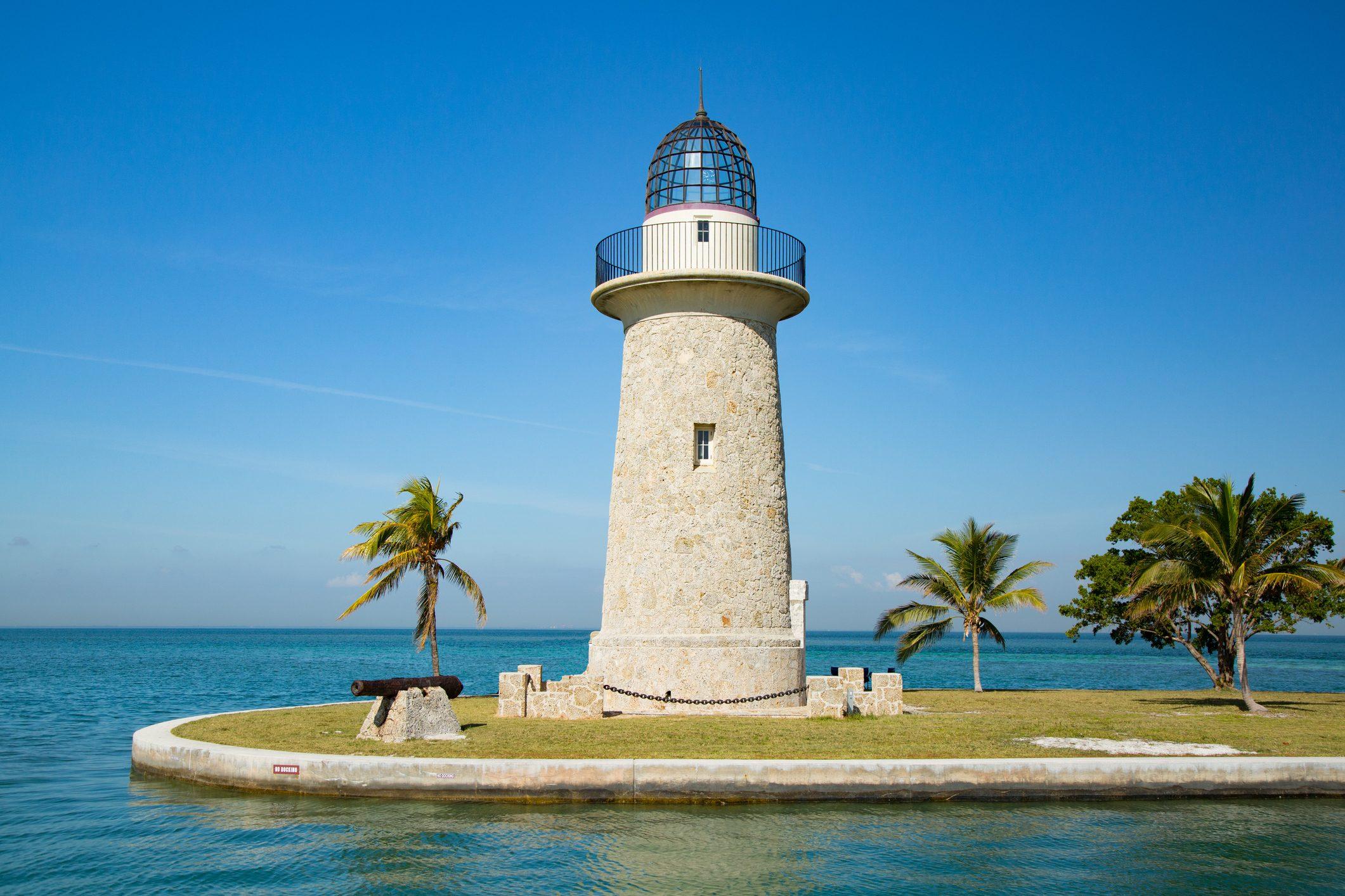 Boca Chita Lighthouse in Biscayne Bay Florida USA.