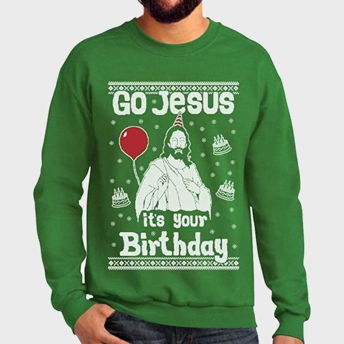 Go Jesus Its Your Birthday Ugly Christmas Sweatshirt Via Amazon