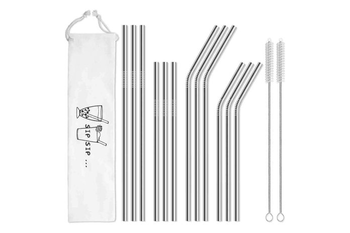 Hiware 12 Pack Reusable Stainless Steel Metal Straws With Case