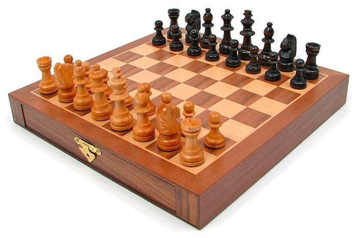 Inlaid Walnut Style Magnetized Wood Chess Set