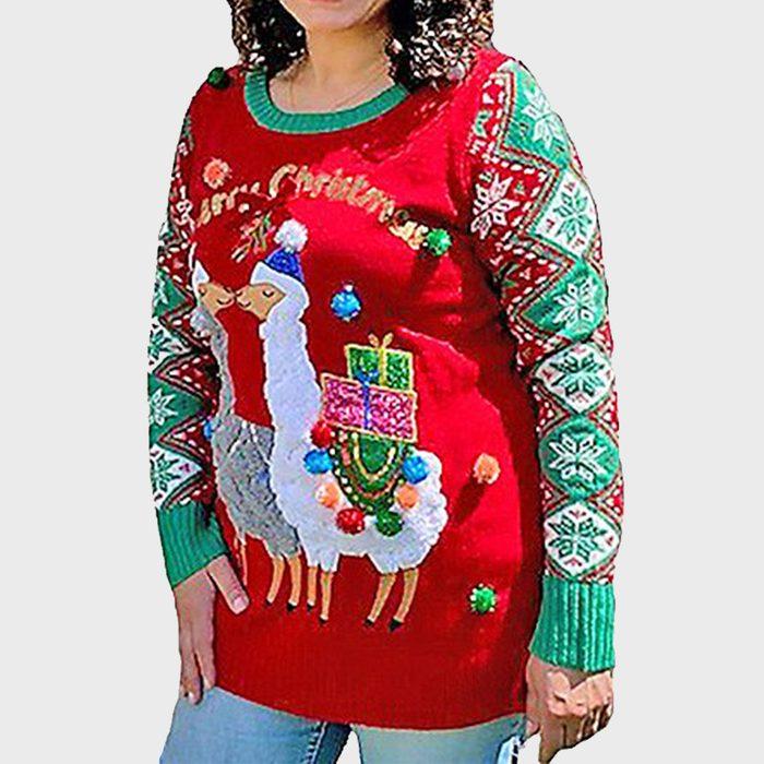 Jolly Sweaters Llama Christmas Long Sleeve Crew Neck Tunic