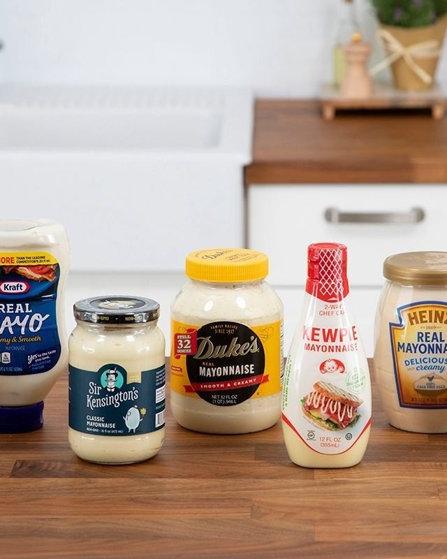 mayo brands on a kitchen counter