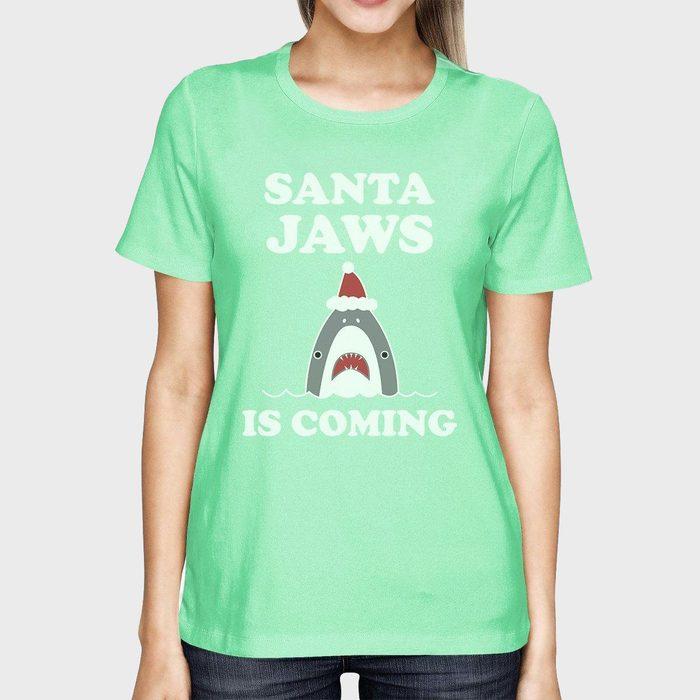 Santa Jaws Is Coming Womens Mint Shirt