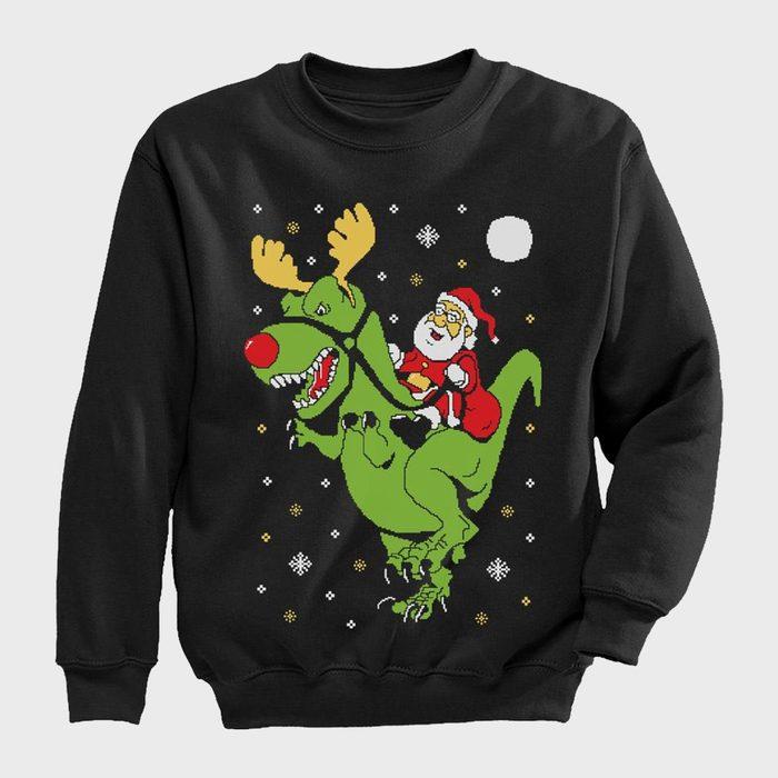 T Rex Santa Ride Kids Ugly Christmas Sweater