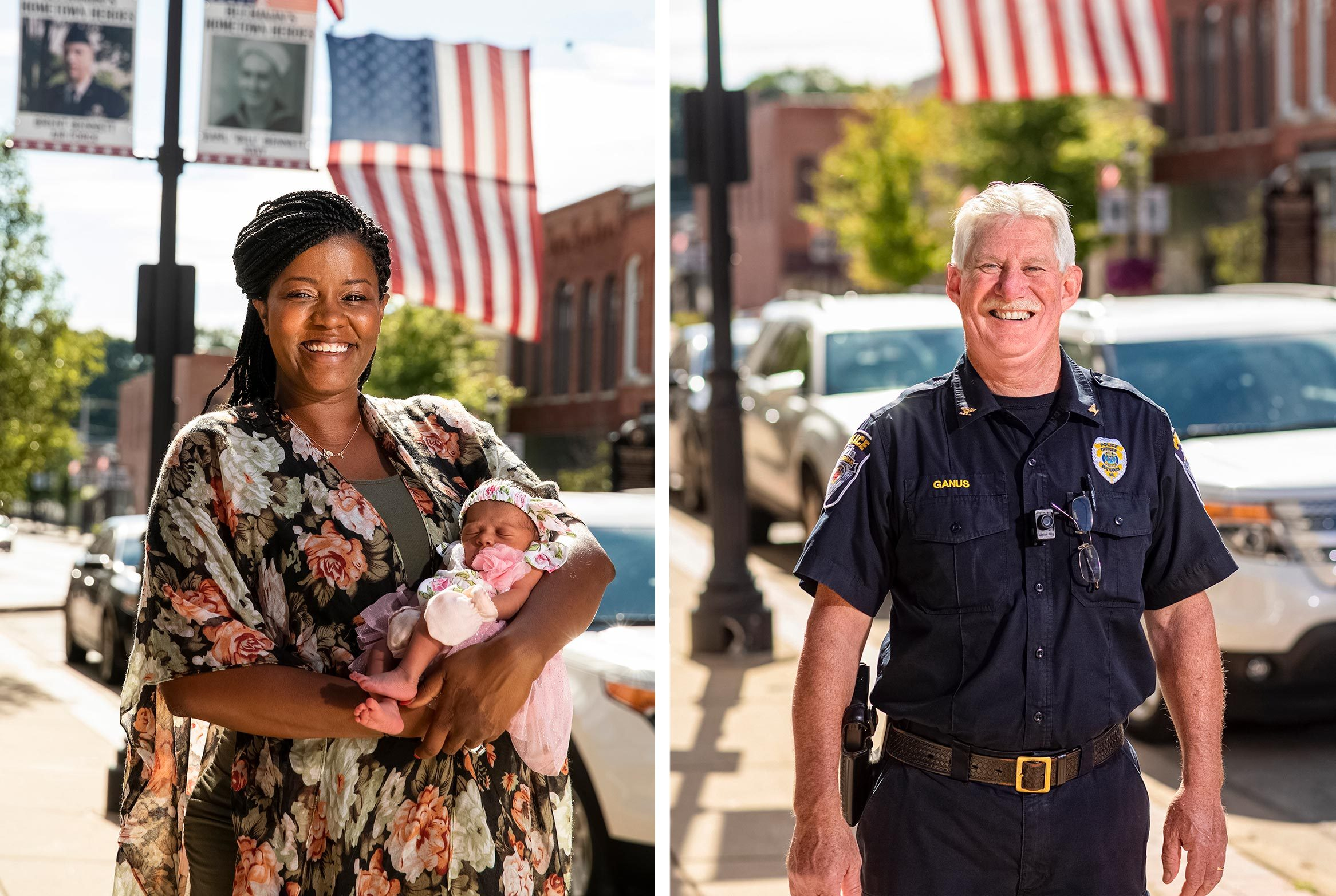 left: Deejra Lee and her baby, Dayna Rae; right: police chief Tim Ganus