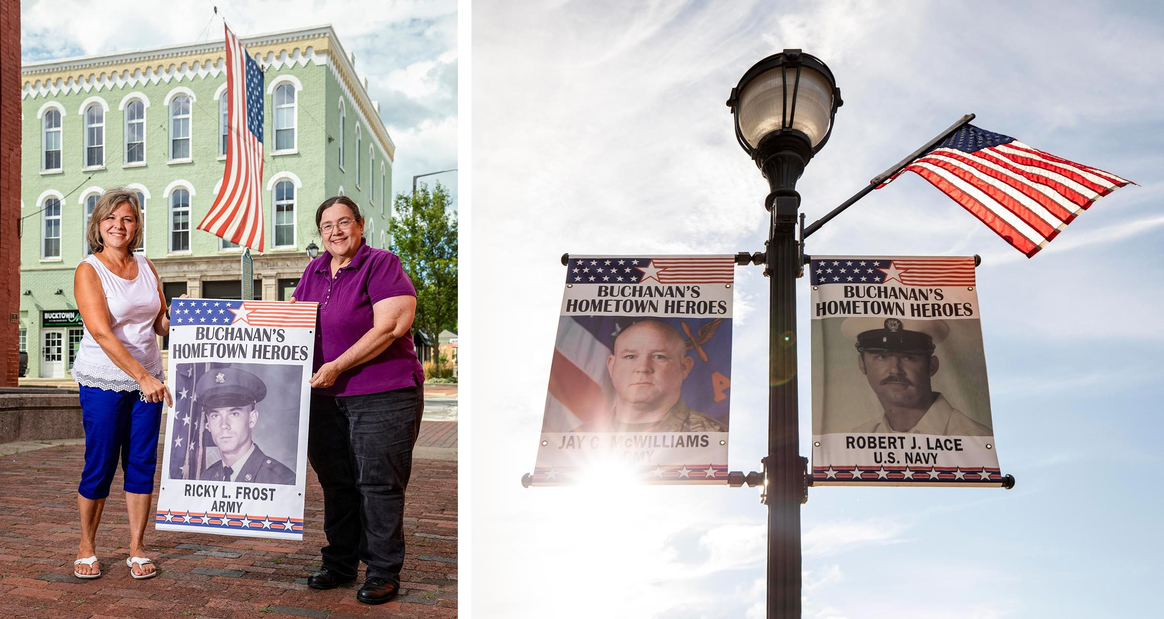 left: Mickey Frost and Mayor Patricia Moore pose with a banner; right: banner catch the sun on a lamppost