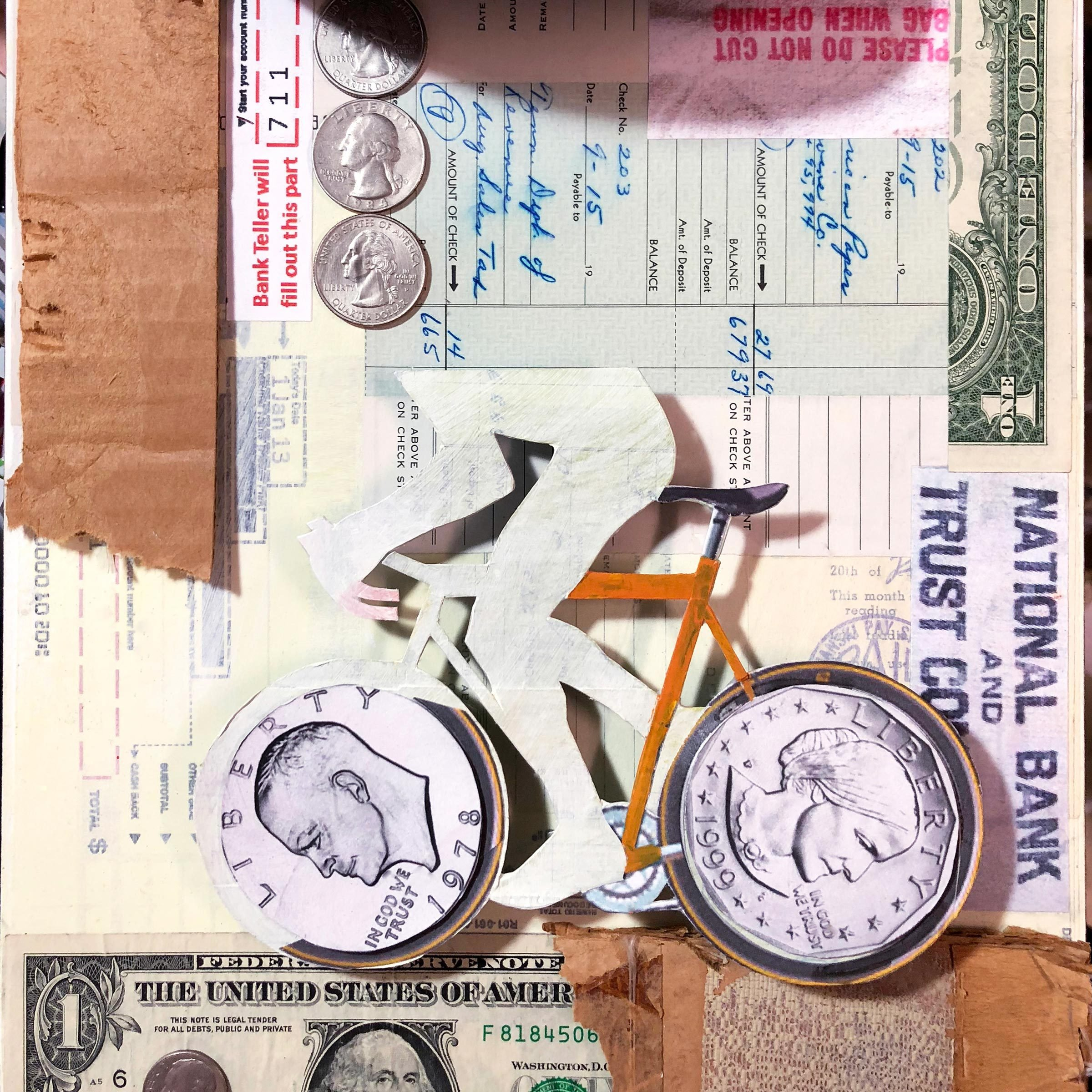 bank robber/bike collage