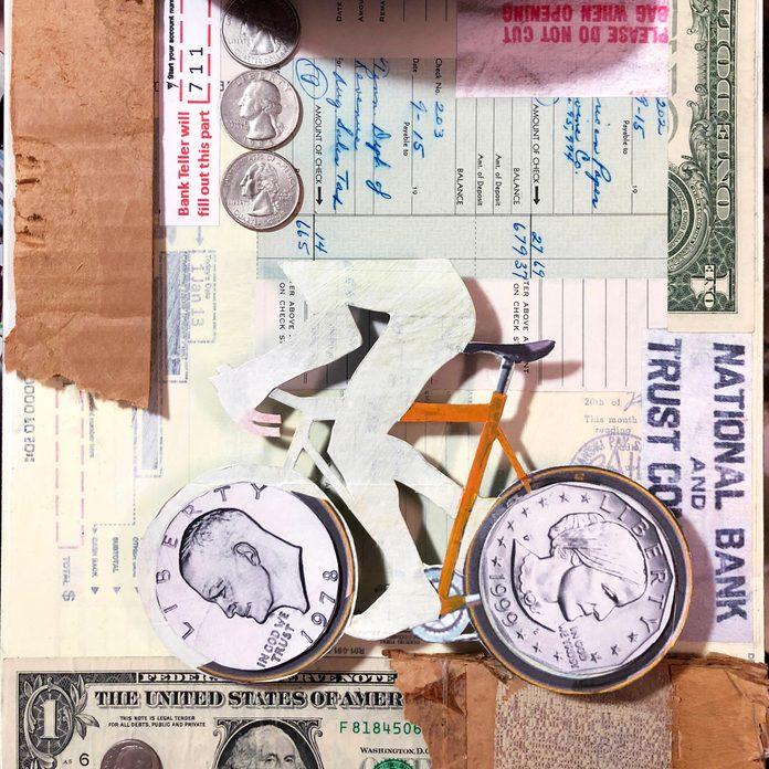bank robber/bike collage