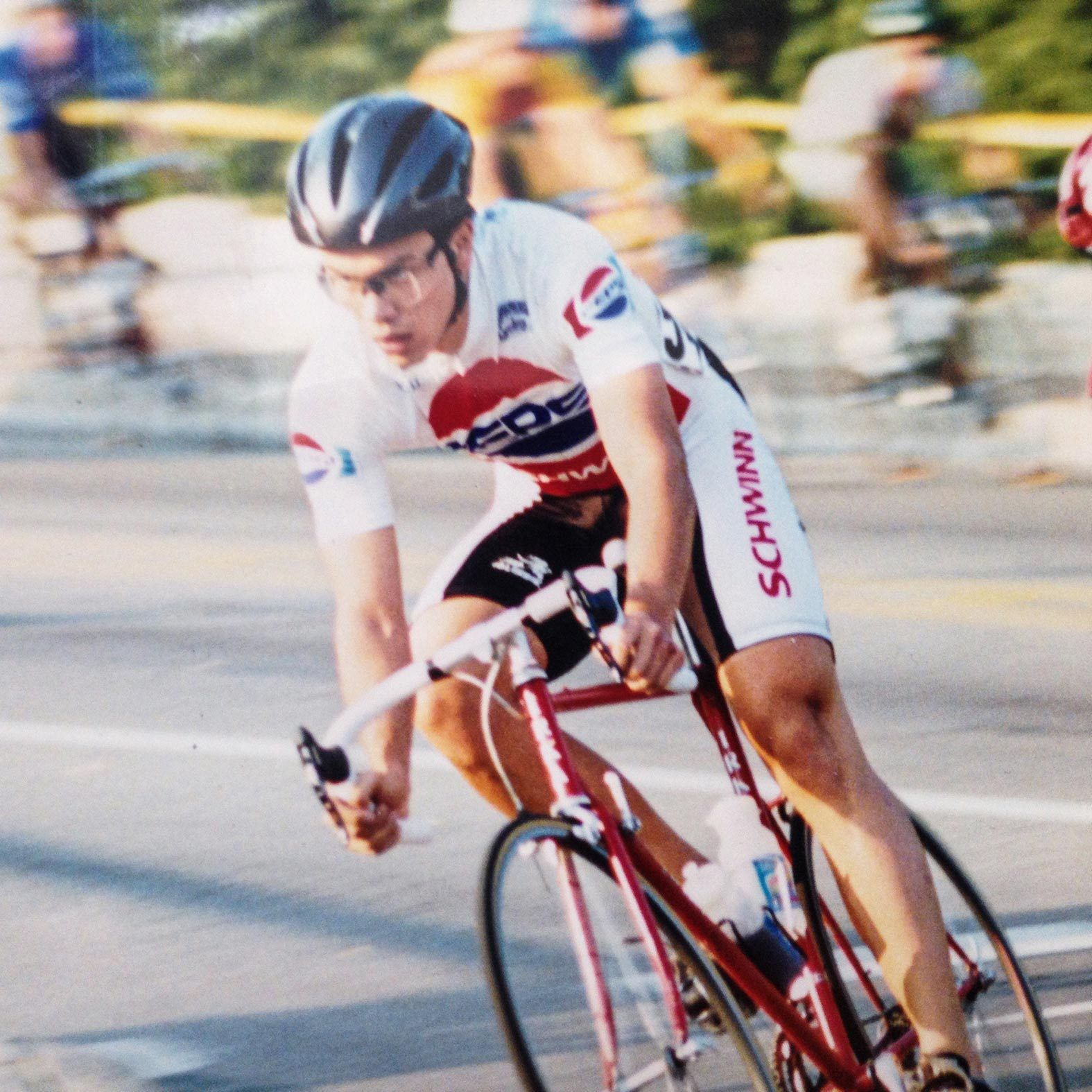 Tom as a teenager competing as a cyclist