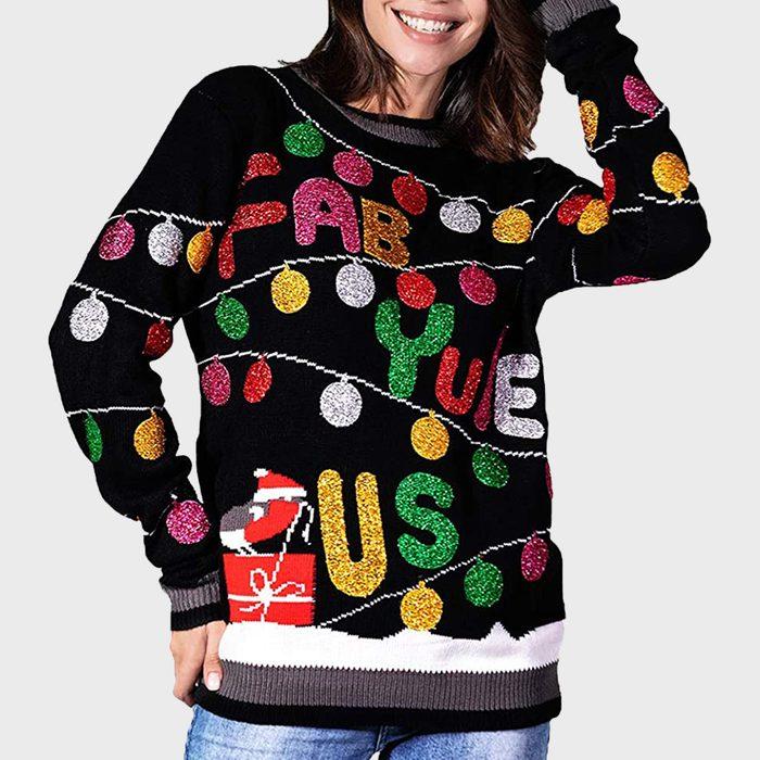 Ugly Glitter Lights Christmas Fair Isle Sweater