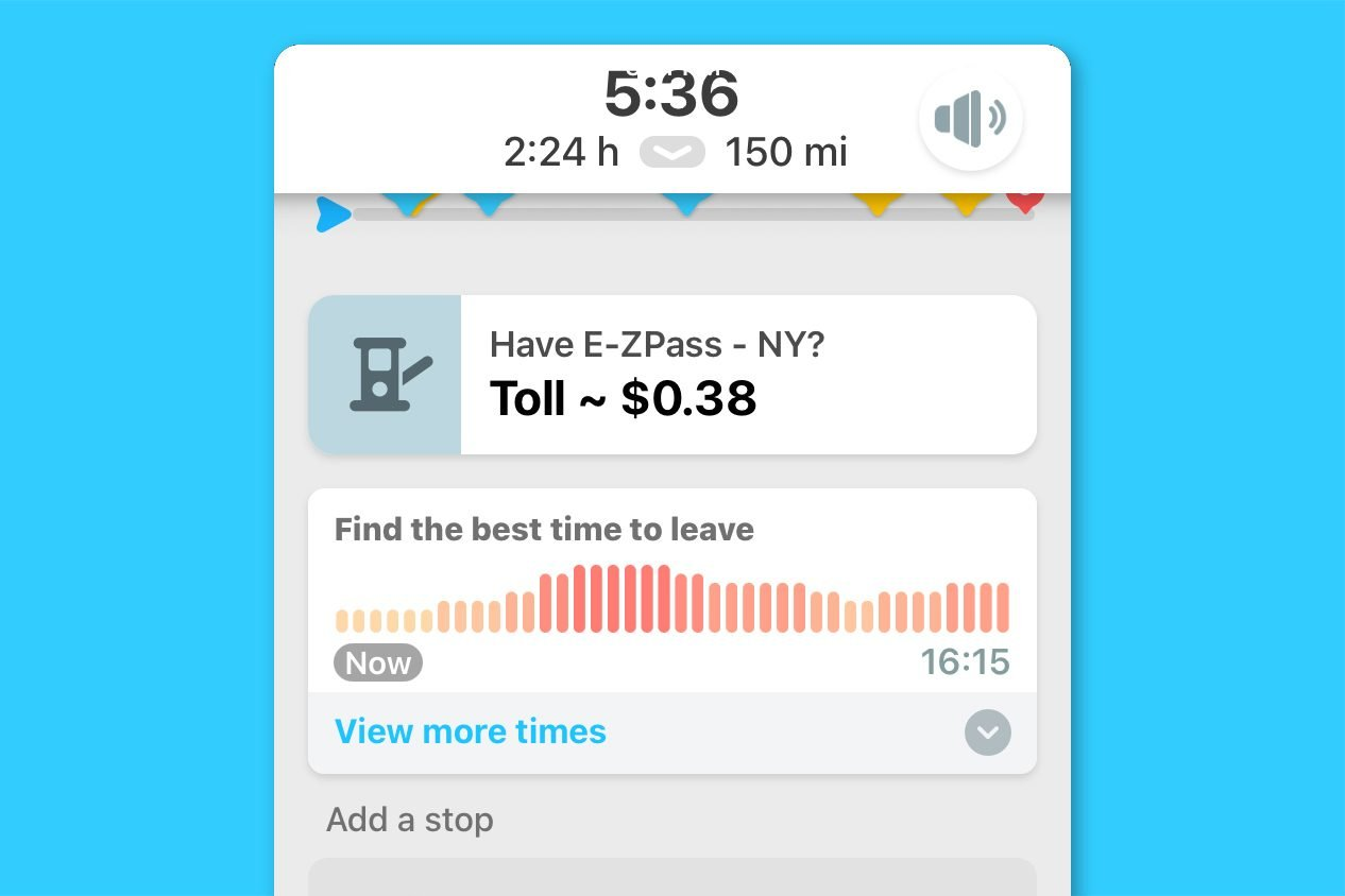 waze screenshot - find out when to leave