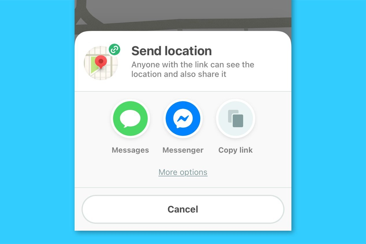waze screenshot - send location