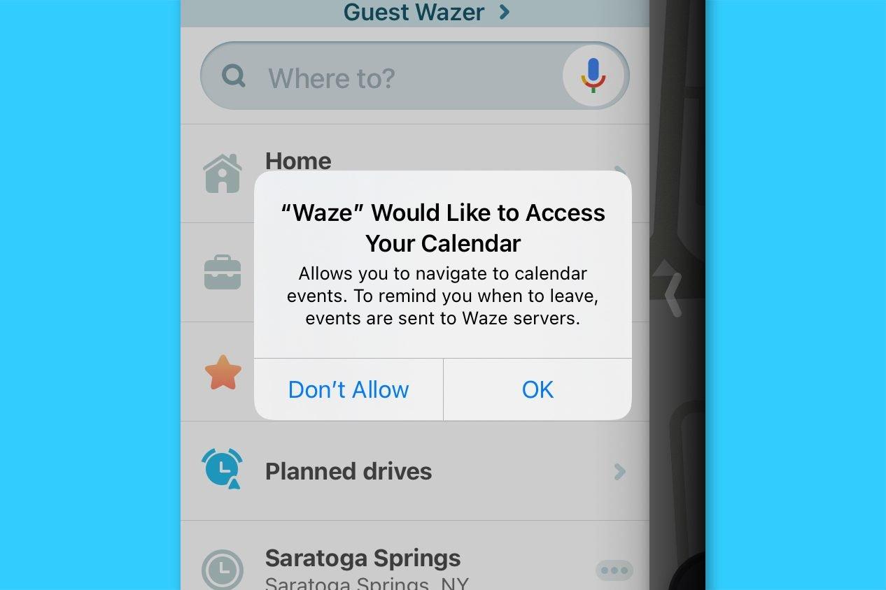 waze screenshot - sync with your calendar