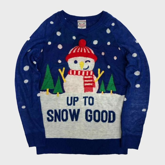 Well Worn Up To Snow Good Snowman Christmas Holiday Sweater