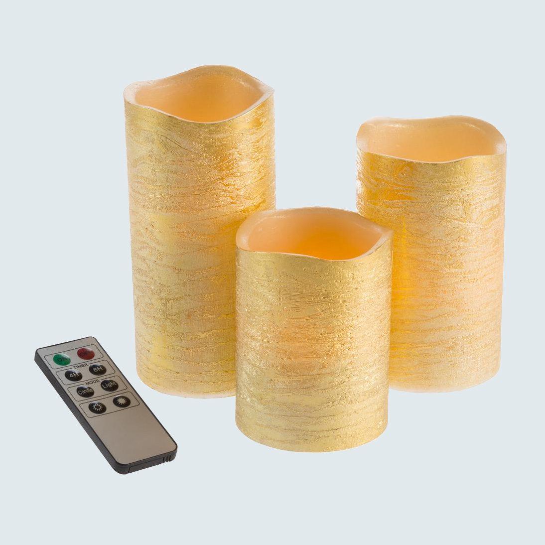 Lavish Home Distressed Metallic Gold LED Candles