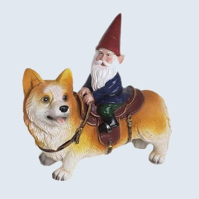 Gnome and Corgi garden statue