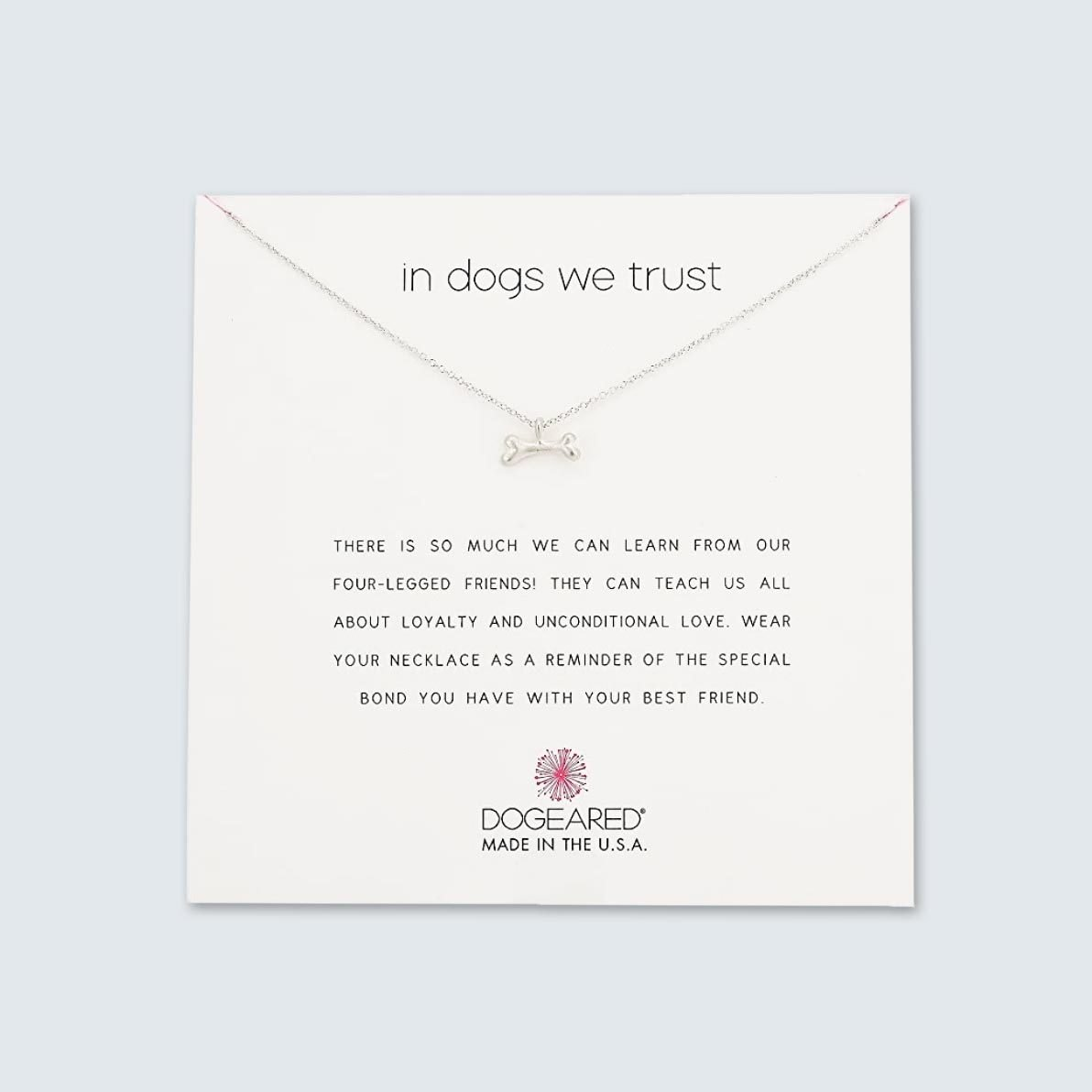 Dogeared In Dogs We Trust Dog Bone Necklace