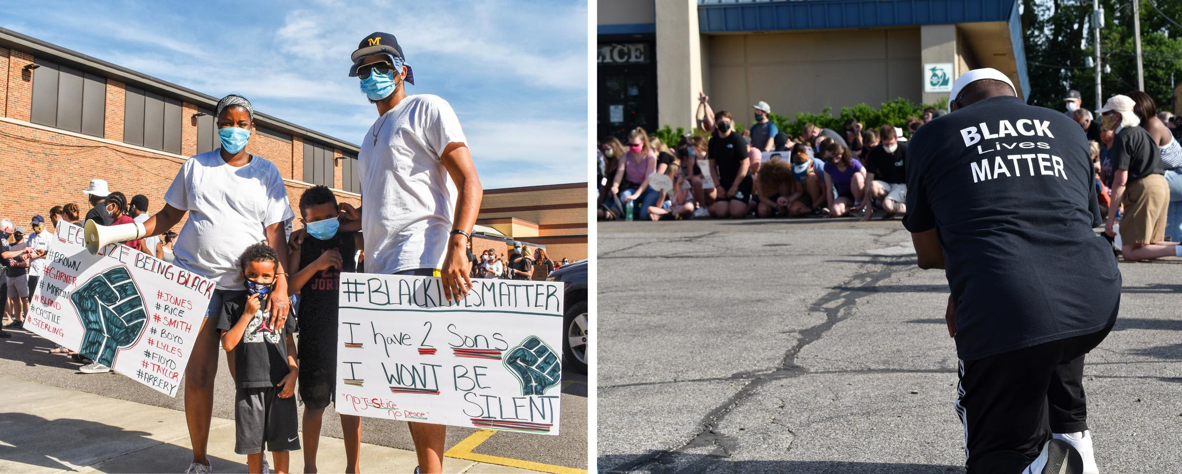 left: Deejra and her family with their protest signs; right: kneeling outside the police station