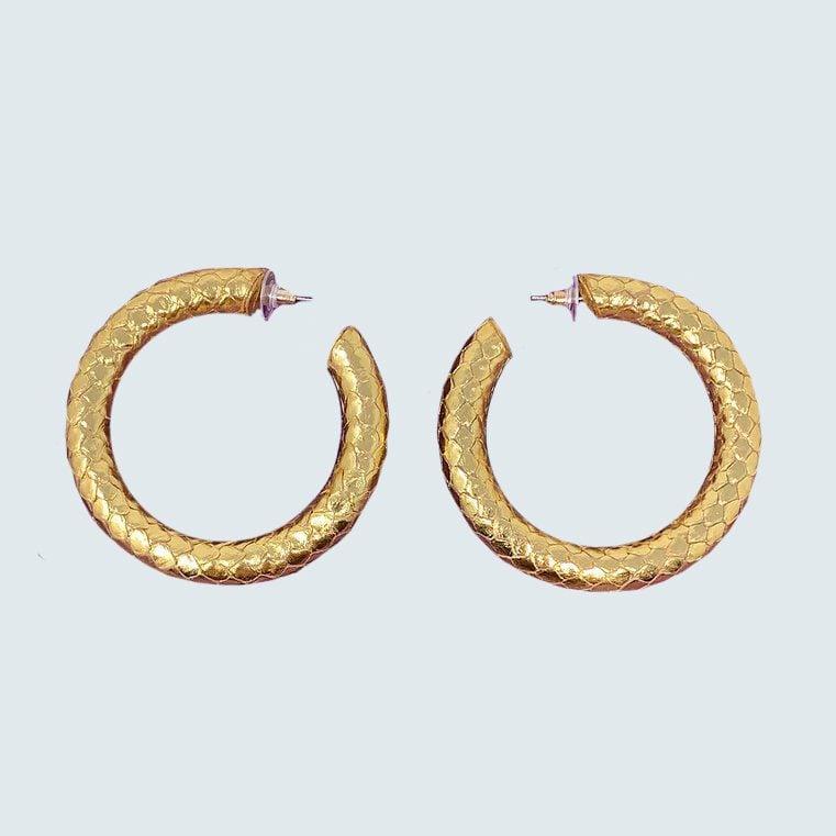 EBJ Gallery Gold Python Hoops