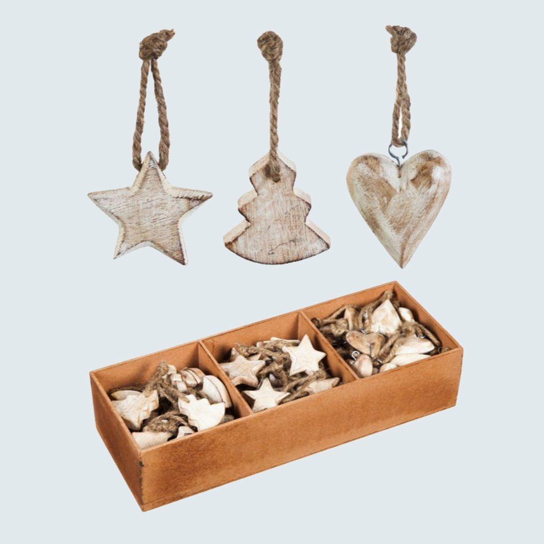 Evergreen White Wood Christmas Ornament Set (90-Pack)