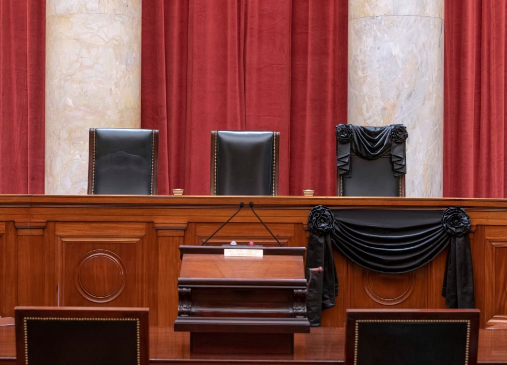 Ruth Bader Ginsburg's Supreme Court Seat Draped In Black Cloth