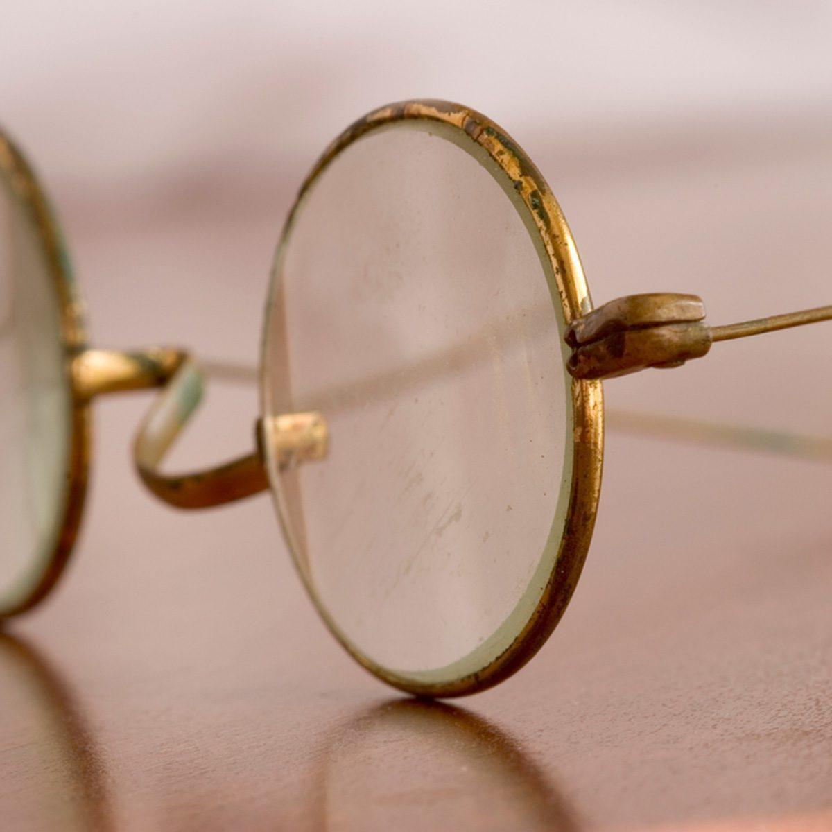 vintage eyeglasses close up