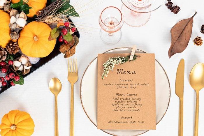 Thanksgiving Menu on place setting