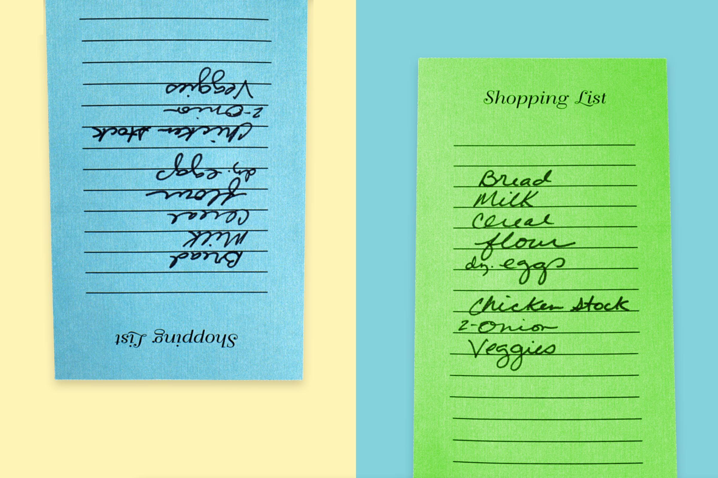 two grocery lists