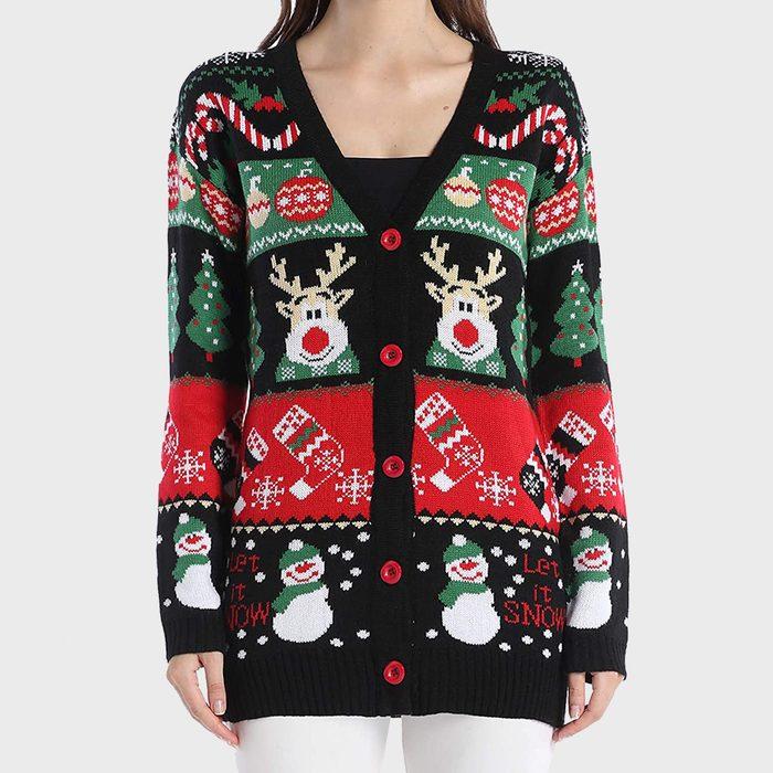 V28 Ugly Reindeer Christmas Cardigan