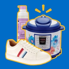 Combination of three items from this list: slow-cooker, shoe, and dry shampoo.