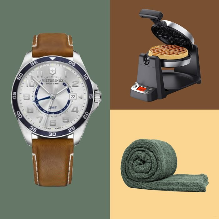 Three mens gifts on different colored square backgrounds