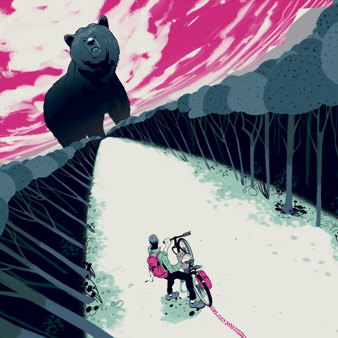 illustration of a larger-than-life bear staring down a biker in the woods