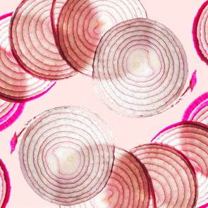 pattern of onion slices and Food on Your Plate logo