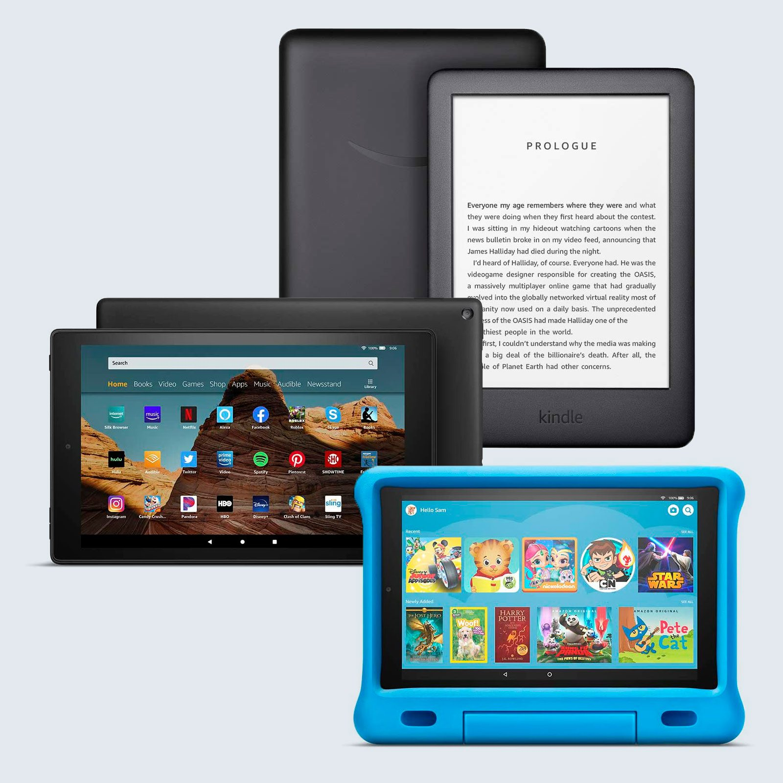 kindle, fire hd 10 tablet, and fire hd 10 kids edition