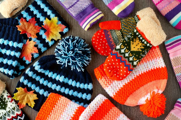 Knitted clothes for cold seasons.